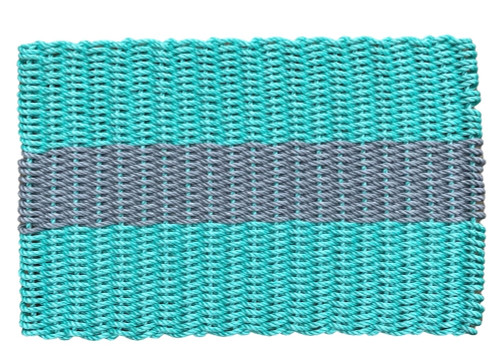 Wicked Good Nautical Rope Doormat, Teal and Silver