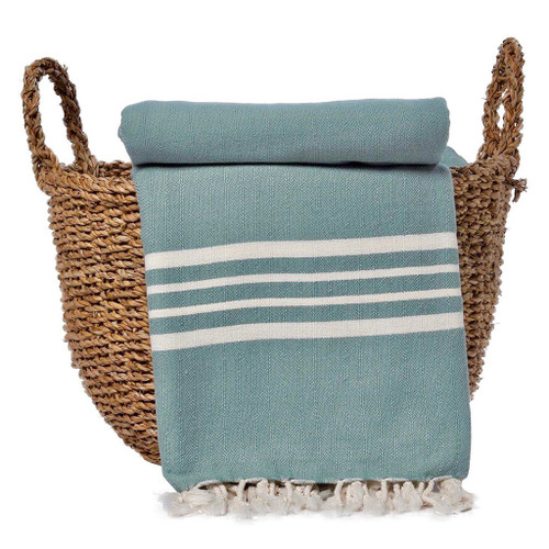 Sea Green Nautical Stripe Turkish Throw