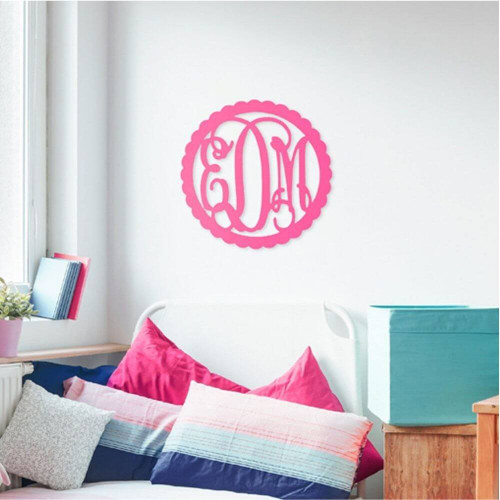 Personalized Wood Sign, Monogram, Scallop Design, Chair