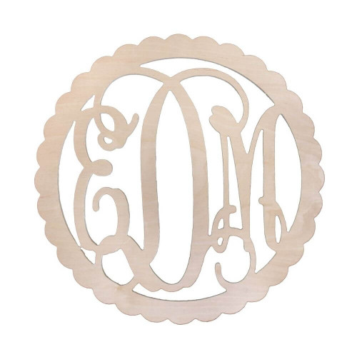 Personalized Wood Sign, Monogram, Scallop Design