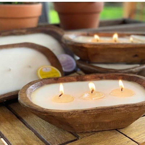 Sea Salt Candle in a Wood Bowl