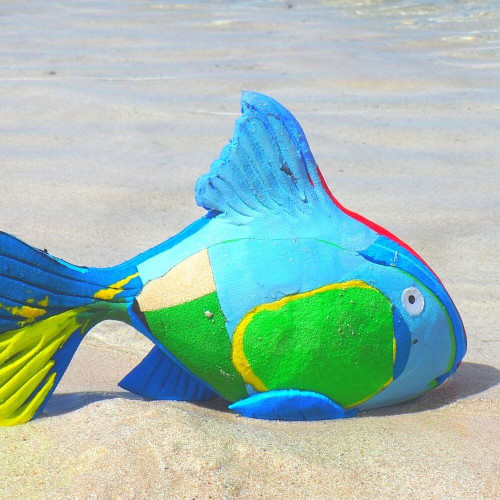 Recycled Flip Flop Reef Fish, Medium, Hand Carved