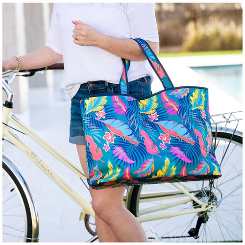 Large Weekender Cotton Tote,  Palm Beach