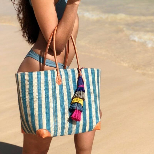 Striped Straw Tote Bag, Eco-Friendly,  Handwoven