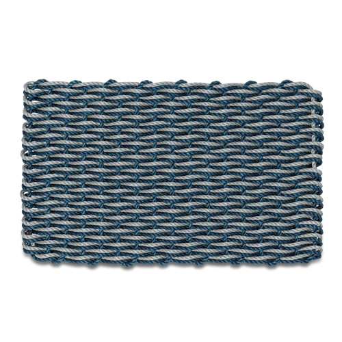 Wicked Good Double Weave Doormat, Navy and Silver