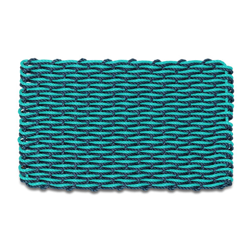 Wicked Good Double Weave Doormat, Navy and Teal
