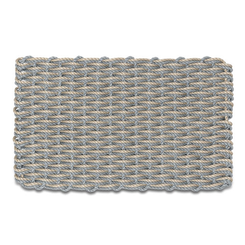 Wicked Good Double Weave Doormat, Navy and Dark Tan