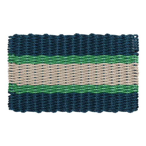 Wicked Good Nautical Rope Doormat, Navy, Green, Dark Tan