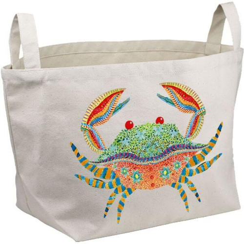 Colorful Crab Canvas Bucket