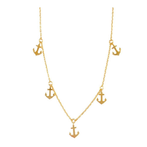 Anchor Choker Necklace, Gold Brass, Adjustable Chain