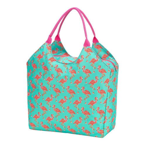 Personalized Summer Tote Bag, Pink Flamingo