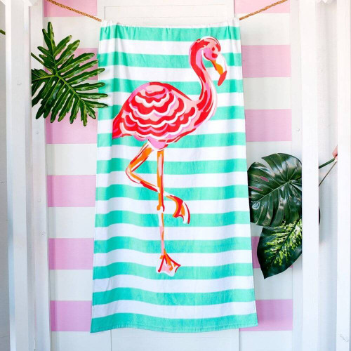 Personalized Beach Towel, Tickled Pink Flamingo