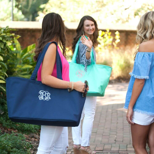 Ultimate Beach Tote, Navy, Mint, Worn by model