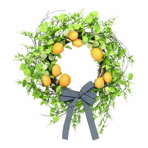 Bright Lemon & Trailing Greenery Wreath, 24""