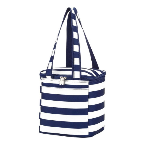 Personalized Cooler Tote, Navy Stripes
