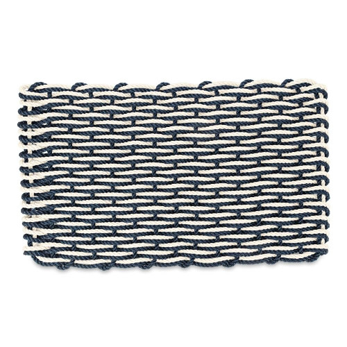 Lobster Rope Nautical Doormat, Navy Blue and Pearl