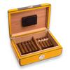 Bey-Berk Carbon Fiber and Yellow 25 Cigar Humidor (C417)