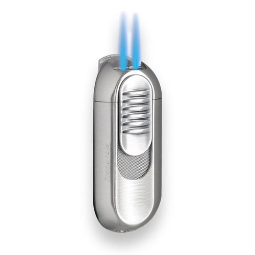 Prometheus Invader II Torch Flame Double Jet Cigar Lighter - Satin Nickel - Exterior Front - with Flame
