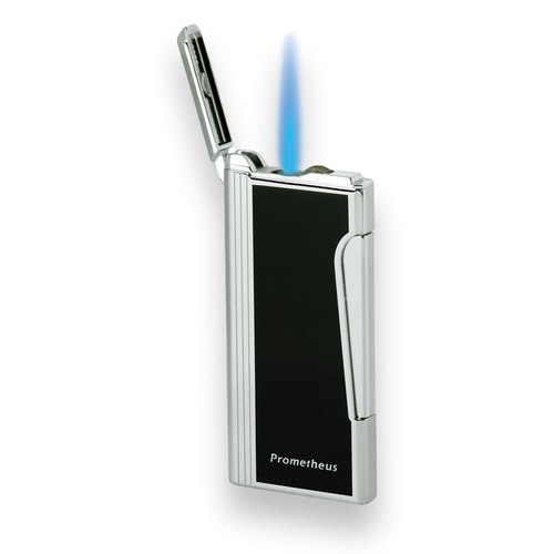 Prometheus Retro Torch Flame Single Jet Zigarettenanzünder - Schwarzer Lack - Flamme