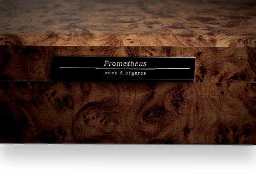 Prometheus Walnut Burl 50-Cigar Desktop Humidor - Octagon Series  - Exterior Front