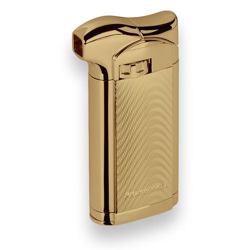 Prometheus Sherlock Soft Flame Cigar Feuerzeug - Gold Wave - Außenfront
