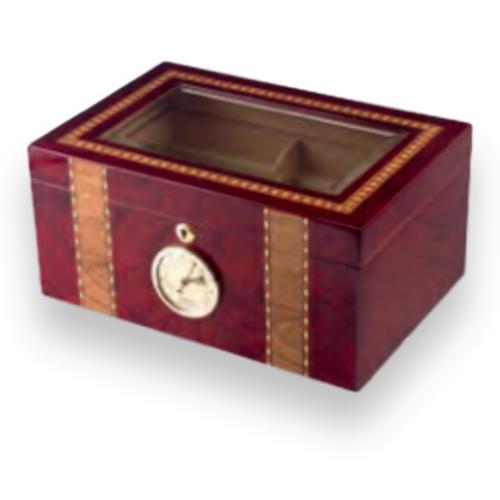 Humidor Supreme Churchill 125-Cigar Desktop Humidor - Handmade Inlay - Exterior Front