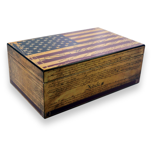 Humidor Supreme Constitution 100-Cigar Desktop Humidor - Full Color Finish - Exterior Front