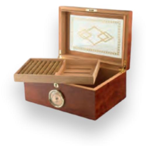 Humidor Supreme Bally II 100-Cigar Desktop Humidor - Mahogany - Exterior Front