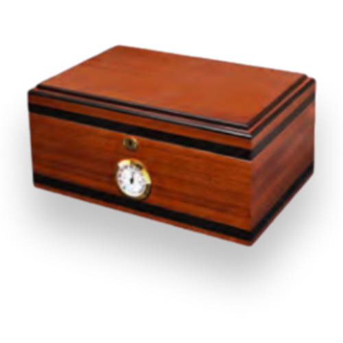 Humidor Supreme Bally V-II 125-Cigar Desktop Humidor - Bubinga and Ebony - Exterior Front