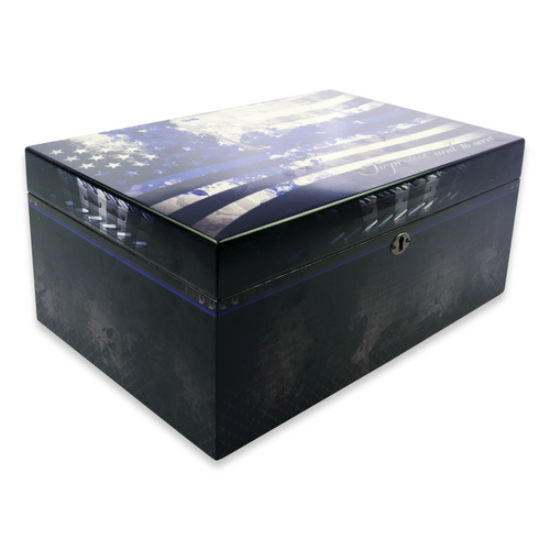 Humidor Supreme Blue Line PD 100-Cigar Desktop Humidor - Full Color Finish - Exterior Side