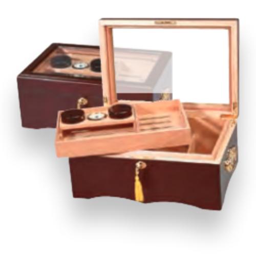 Humidor Supreme El Rey 150-Cigar Desktop Humidor - Mahogany - Exterior Front