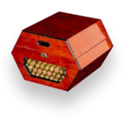 Humidor Supreme Cuban Wheel 50-Cigar Desktop Humidor - Cambodian Rosewood - Exterior Front