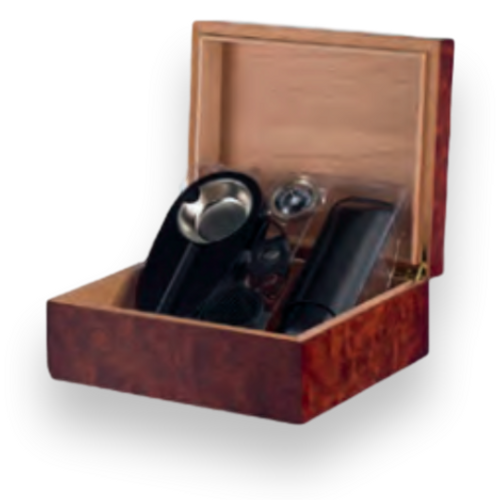 Humidor Supreme Feville Gift Set 25-Cigar Desktop Humidor - Red Burl - Exterior Front