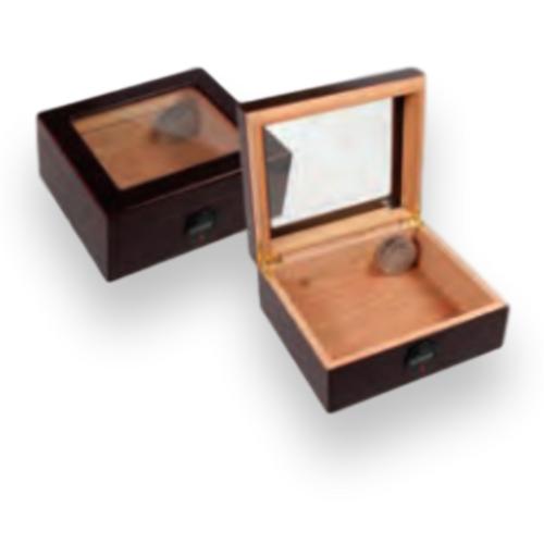 Humidor Supreme Capri Digital Series 50-Cigar Desktop Humidor - Dark Mahogany - Exterior Front