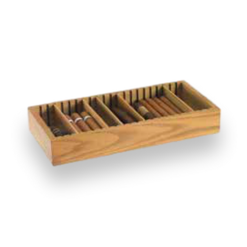 Humidor Supreme Space Saver Adjustable Cigar Tray - Oak - Exterior Front