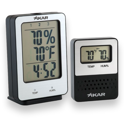 Xikar Purotemp Wireless Hygrometer - Base Unit with 1 Remote Sensor - Exterior Front