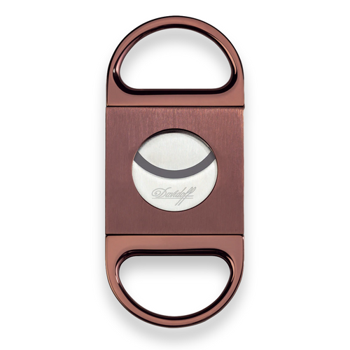 Davidoff Guillotine Cut Double-Blade Cigar Cutter - Brushed Brown - Exterior Front