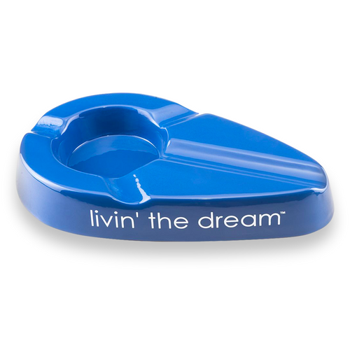 Xikar Livin' the Dream Ceramic 3-Cigar Ashtray - Blue - Exterior Front