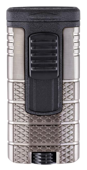 Xikar Tactical 3 Torch Flame Triple Jet Cigar Lighter - Gunmetal and Black - Exterior Front