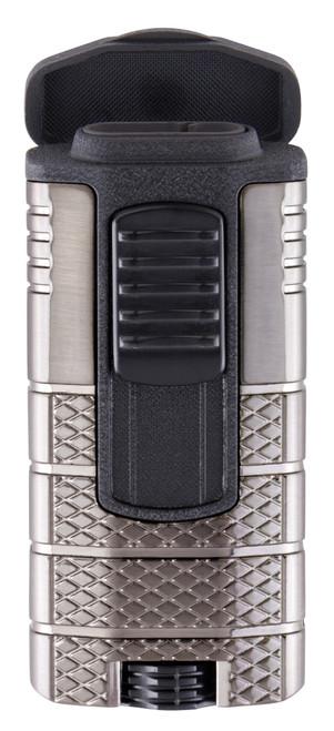 Xikar Tactical 3 Torch Flame Triple Jet Cigar Lighter - Gunmetal and Black - Exterior Front Open