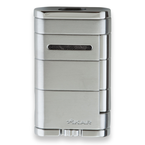 Xikar Allume Double Torch Flame Cigar Lighter - Silver - Exterior Front