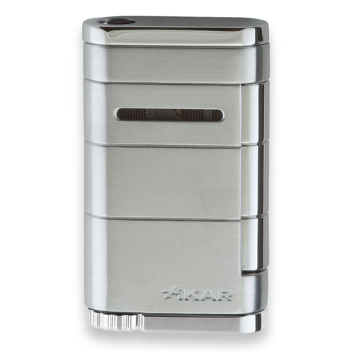 Xikar Allume Single Torch Flame Cigar Lighter - Silver - Exterior Front