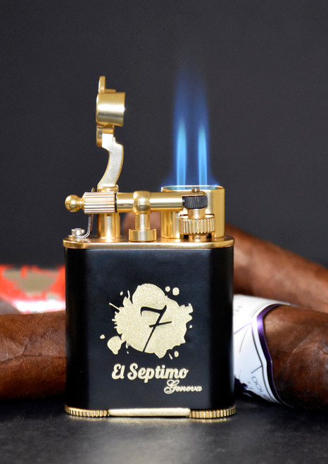 El-Septimo Classic Torch Flame Double Jet Cigar Lighter with Punch Cutter - Black and Gold - Flame