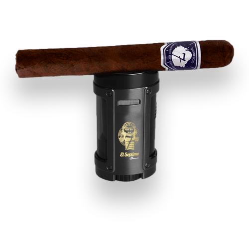 El-Septimo Gilgamesh Collection Torch Flame Quad Jet Cigar Lighter - Black - Exterior Front with Cigar