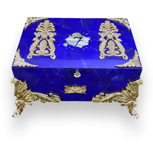 El-Septimo Presidential Collection 100-Cigar Desktop Humidor - Lapis Lazuli - Exterior Front