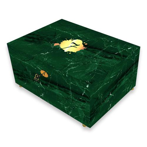 El-Septimo Trilogy Collection 100-Cigar Desktop Humidor - Emerald Marble - Exterior Front