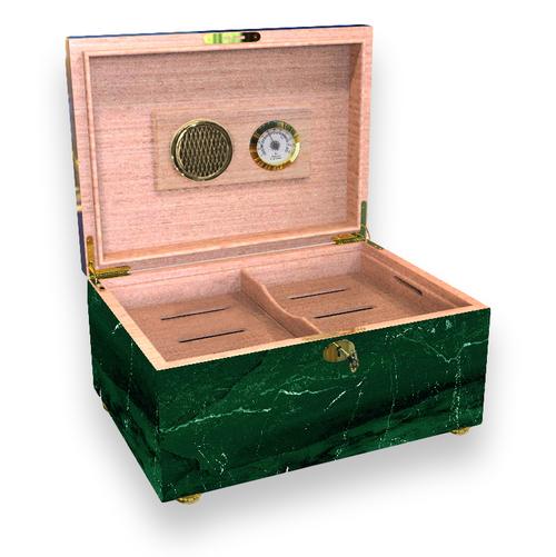 El-Septimo Trilogy Collection 100-Cigar Desktop Humidor - Emerald Marble - Interior