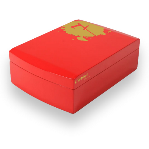 El-Septimo 30-Cigar Acrylic Humidor - Ruby - Exterior Front