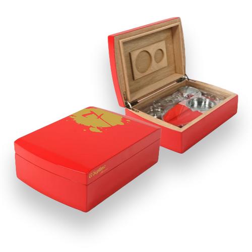 El-Septimo 30-Cigar Acrylic Humidor - Ruby - Interior
