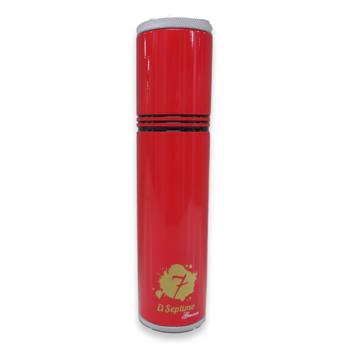 El-Septimo Large 8-Cigar Tube - With Holes - Ruby - Exterior Front